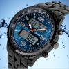 双显男士钢带潜水石英腕表 光能表多功能男学生运动电子手表