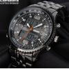 双显男士钢带潜水石英腕表 光能表多功能男学生运动电子手表1032